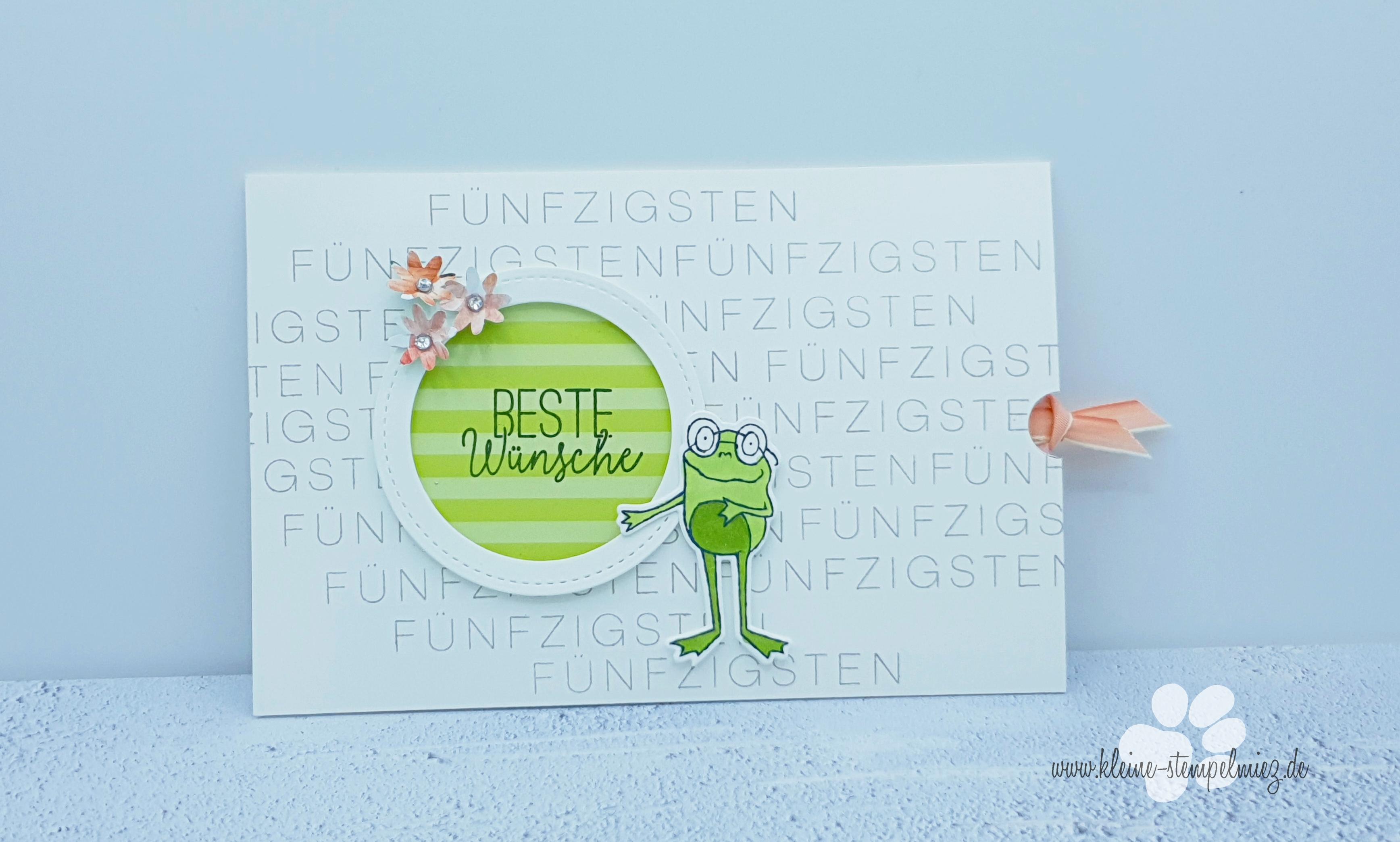 Karte 50 Geburtstag.Froschige Glückwunschkarte Zum 50 Geburtstag Kleine Stempelmiez