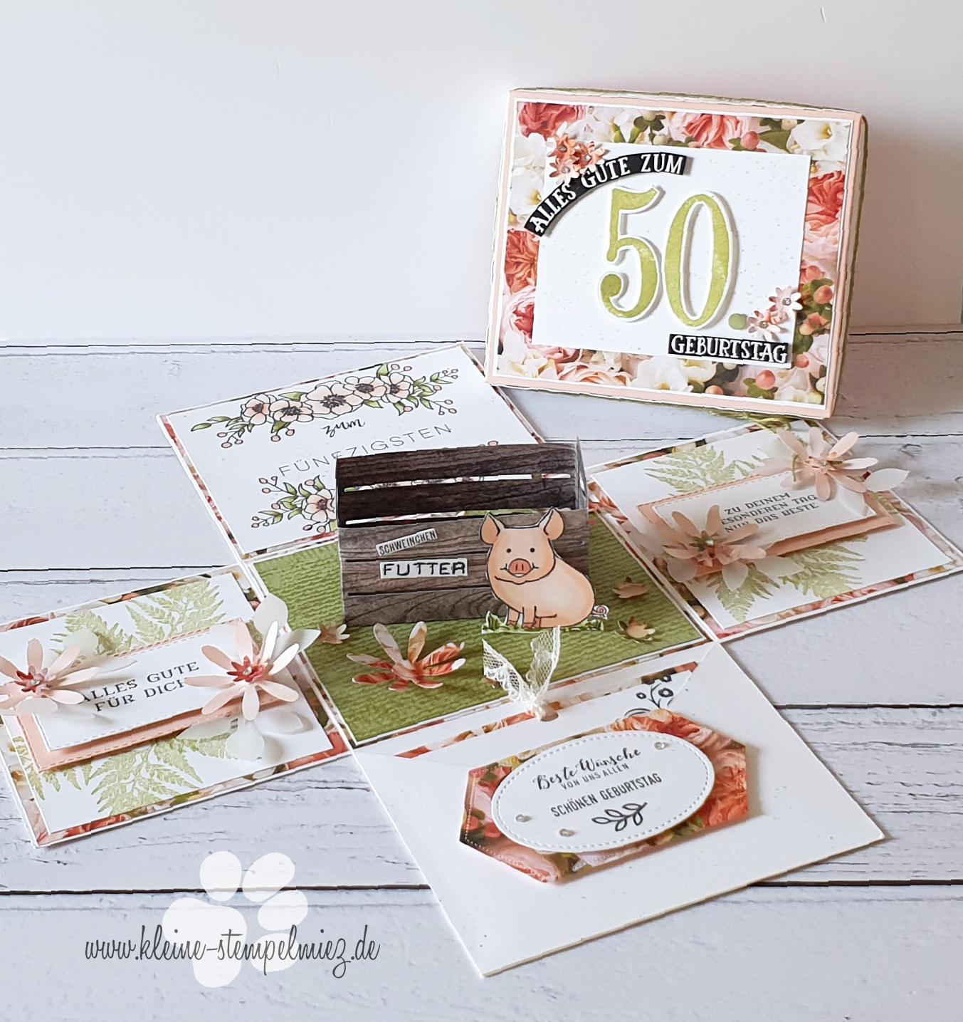 Futter fürs Sparschwein – Explosionsbox zum 50. Geburtstag ...